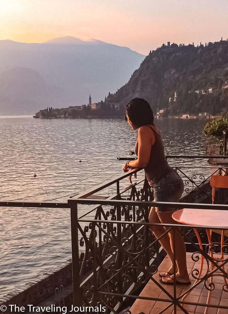 unset from our balcony in Varenna, Lake Como, Puesta de sol desde nuestro balcón en Varenna, lago de Como